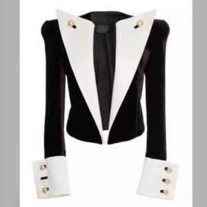 BALMAIN Contrast Satin Lapel Velvet Jacket